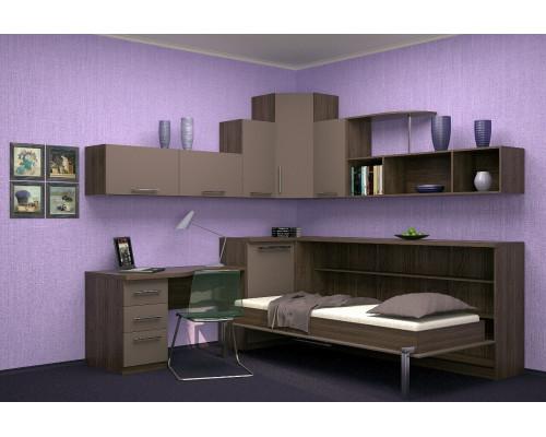 Шкаф-кровать детская в кофейных тонах