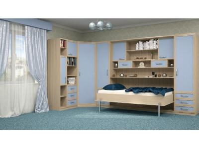 Шкаф-кровать детская в синих тонах в Санкт-Петербурге
