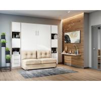 """шкаф-кровать  с диваном """"БЕЛА"""" Эльбрус+Белый"""