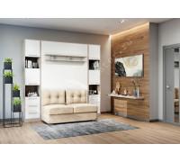 """шкаф-кровать  с диваном """"БЕЛА"""" с полкой ножкой Эльбрус+белый"""